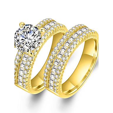 Páros Luxus Kocka cirkónia / Szintetikus gyémánt Cirkonium / Arannyal bevont Páros gyűrűk - Circle Shape / Geometric Shape Luxus /