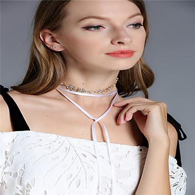 Női Többrétegű Leaf Shape Strassz Strassz Rövid nyakláncok Nyakláncok  -  Személyre szabott Bojt Többrétegű Line Shape Arany Ezüst