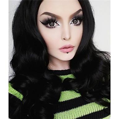 Szintetikus csipke front parókák Természetes hullám Fekete Női Csipke eleje Természetes paróka Hosszú Szintetikus haj