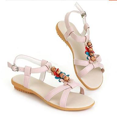 Damen Schuhe PU Sommer Komfort Sandalen Flacher Absatz Offene Spitze Für Normal Beige Blau Rosa