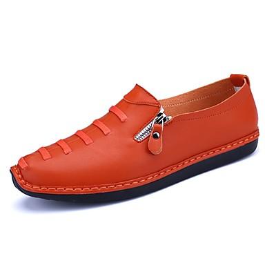 Férfi cipő PU Tavasz Ősz Mokaszin Papucsok & Balerinacipők Cipzár mert Hétköznapi Fehér Fekete Narancssárga