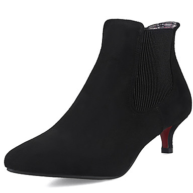 Damen Schuhe PVC Leder Kunstleder Herbst Winter Modische Stiefel Stiefel Walking Stöckelabsatz Spitze Zehe Booties / Stiefeletten Mit