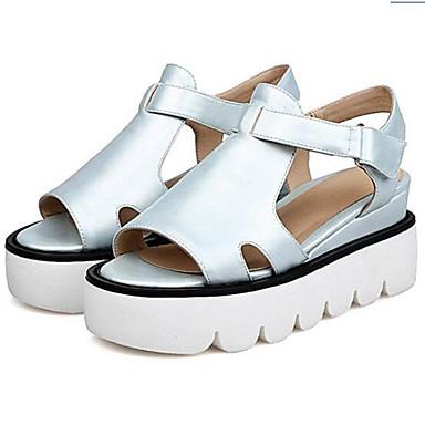 Damen Schuhe PU Frühling Sommer Komfort Sandalen Für Normal Weiß Schwarz Silber
