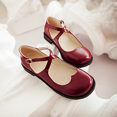 Damen Schuhe PU Frühling Komfort Bootsschuhe Flacher Absatz Für Normal Weiß Schwarz Rot