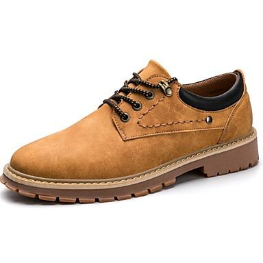 Férfi cipő Bőr Tavasz Ősz Kényelmes Félcipők Fűző mert Hétköznapi Szürke Sárga Khakizöld