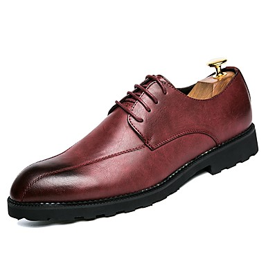 Men's Comfort Shoes Leatherette Spring / Fall Oxfords Black / Gray / Red