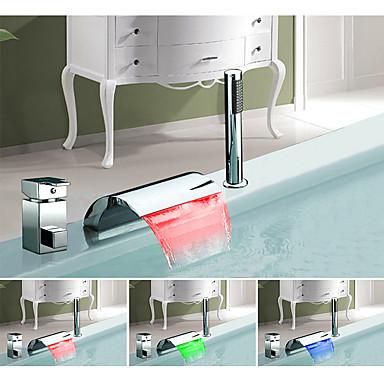 Bathtub Faucet - Color Changing / European Chrome Widespread Ceramic Valve