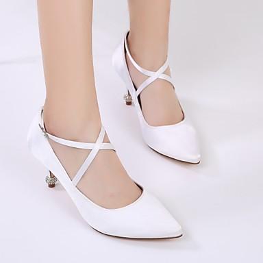 Printemps Basique Bout D'Orsay Chaussures 06390602 Escarpin mariage Femme Pièces Satin de Strass Deux Chaussures Confort amp; pointu Eté 6xvEXP