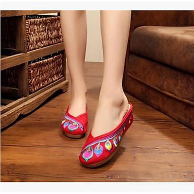 Damen Schuhe Stoff Sommer Komfort Sandalen Für Normal Schwarz Rot