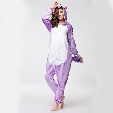 Adults' Kigurumi Pajamas with Slippers Unicorn / Flying Horse / Horse Onesie Pajamas Costume Flannel Fabric Light Purple Cosplay For Animal Sleepwear Cartoon Halloween Festival / Holiday / Christmas
