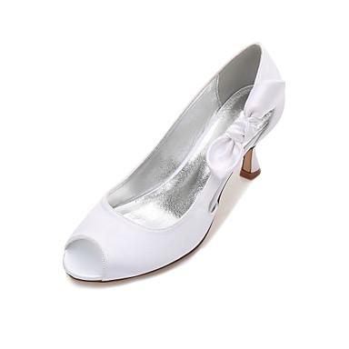 Női Cipő Szatén Tavasz / Nyár Magasított talpú / Kényelmes Esküvői cipők Cicasarok / Alacsony / Tűsarok Köröm Csokor / Szatén virág /