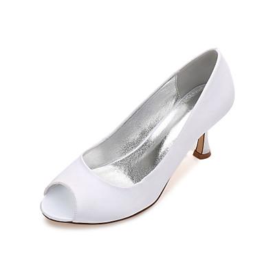 Women's Shoes Satin Spring / Summer Basic Pump / Comfort Wedding Shoes Kitten Heel / Low Heel / Stiletto Heel Peep Toe for Wedding /