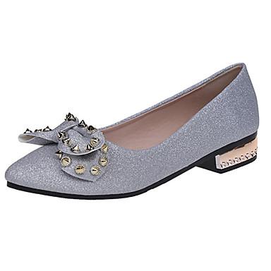 Női Cipő PU Tavasz / Ősz Kényelmes Magassarkúak Alacsony Erősített lábujj Csokor Fekete / Ezüst