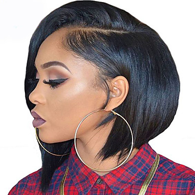 Synthetic Lace Front Wig Straight / Yaki Bob Haircut Synthetic Hair Natural Hairline Brown Wig Short L Part Natural Black