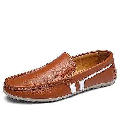 Herrn Schuhe Leder Frühling / Herbst Komfort Loafers & Slip-Ons Schwarz / Braun / Blau / Komfort-Müßiggänger