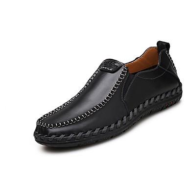 Férfi cipő PU Tavasz / Ősz Mokaszin Papucsok & Balerinacipők Fekete / Sötétbarna / Világosbarna