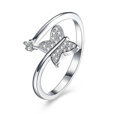 Női Kocka cirkónia Ezüst Pillangó mandzsetta Ring - Állat Állítható Ezüst Gyűrű Kompatibilitás Esküvő / Parti / Eljegyzés