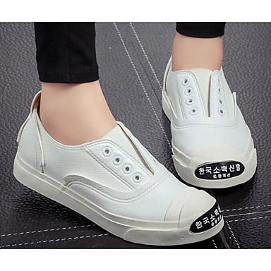 Damen Schuhe PU Sommer Komfort Loafers & Slip-Ons für Normal Weiß Schwarz Silber