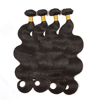 4 Bundles Brazilian Hair Body Wave / Loose Wave Human Hair Natural Color Hair Weaves 8-26 inch Human Hair Weaves Human Hair Extensions