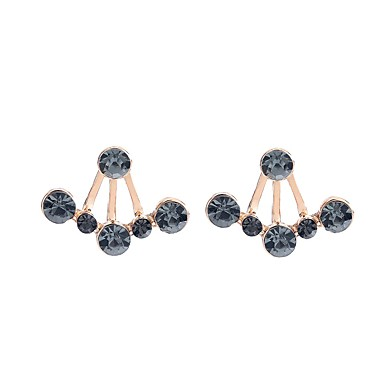 Women's Synthetic Diamond Geometric Stud Earrings - Classic, Fashion Black / Gold For Party / Gift / Daily