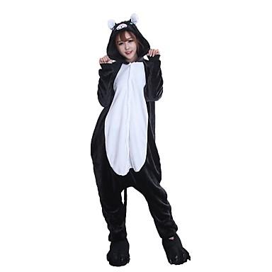 Kigurumi pizsama papuccsal Cat Onesie pizsama Jelmez Φανελένιο Ύφασμα Fekete Cosplay mert Allati Hálóruházat Rajzfilm Halloween Fesztivál