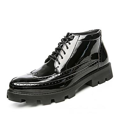 Férfi cipő Nappa Leather Tél Ősz Közepesen magas szárú bakancs Csizmák Bokacsizmák Fűző mert Sport Arany Fekete Ezüst