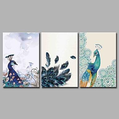 Hang festett olajfestmény Kézzel festett - Állatok Művészi Rusztikus Klasszikus és időtálló Vászon