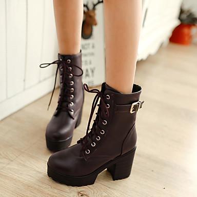 db1c9fcd72a Γυναικεία Παπούτσια PU Άνοιξη / Φθινόπωρο Ανατομικό Μπότες Κοντόχοντρο  Τακούνι Στρογγυλή Μύτη Λευκό / Μαύρο / Καφέ
