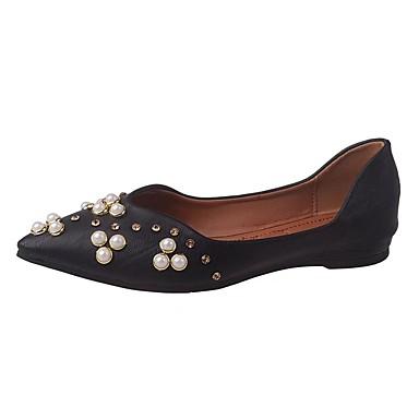 Damen Schuhe PU Sommer Komfort Flache Schuhe Walking Flacher Absatz Spitze Zehe Perle für Normal Weiß Schwarz Beige