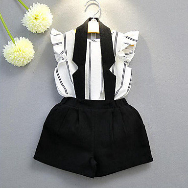 Mädchen Kleidungs Set Streifen Baumwolle Polyester Sommer Ärmellos Streifen Weiß