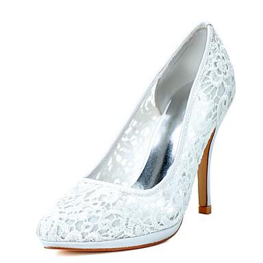 Női Cipő Háló Tavasz / Nyár Formai cipő Esküvői cipők Tűsarok Erősített lábujj Fehér / Rózsaszín / Party és Estélyi