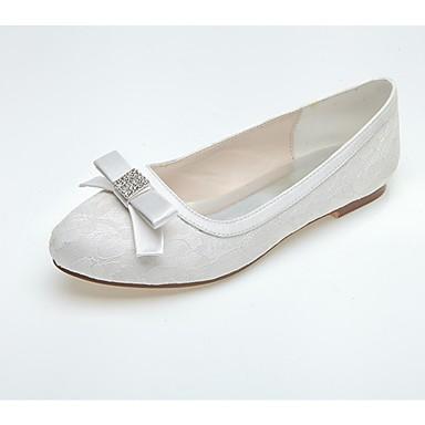 Női Cipő Tüll Tavasz / Ősz Kényelmes Esküvői cipők Lapos Kerek orrú Strasszkő Fehér / Kék / Rózsaszín / Party és Estélyi