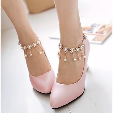 Damen Schuhe Nubukleder PU Sommer Herbst Komfort High Heels Für Normal Weiß Rosa