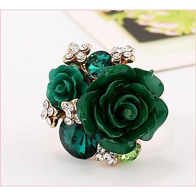 Χαμηλού Κόστους Μοδάτο Δαχτυλίδι-Γυναικεία Δέσε Ring Ρητίνη Ροζ πέρλα Λουλούδι κυρίες Μοδάτο Δαχτυλίδι Κοσμήματα Πράσινο / Μπλε / Βαθυγάλαζο Για Γάμου Πάρτι Δώρο Καθημερινά Ρυθμιζόμενο