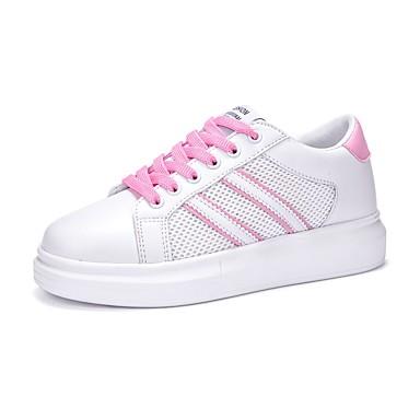 Damen Schuhe Tüll Leder Sommer Herbst Komfort Sneakers Walking Plattform Runde Zehe Schnürsenkel für Sportlich Normal Draussen Rosa und