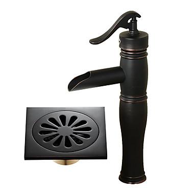 Fürdőszoba mosogató csaptelep - Vízesés Fekete Három lyukas Egy fogantyú egy lyukkal