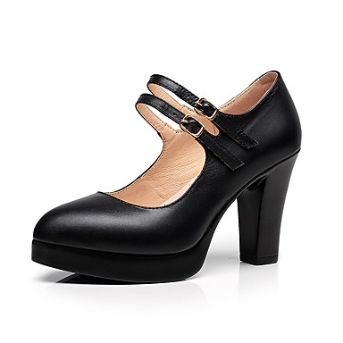 Women's Shoes Leather Spring / Fall Basic Pump Heels Chunky Heel Pointed Toe Buckle Black / Party & Evening / Party & Evening