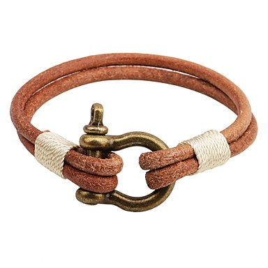 Men's / Women's Leather Bracelet - Leather Button Personalized, Vintage Bracelet Coffee For Casual / Going out