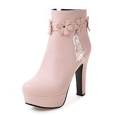 Women's Shoes Leatherette Winter Fall Fashion Boots Bootie Boots Chunky Heel Platform Round Toe Booties/Ankle Boots Crystal Appliques
