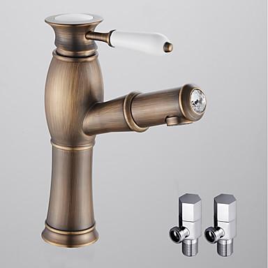 Fürdőszoba mosogató csaptelep - Széleskörű / Kihúzható Antik bronz Mosdókagyló Egy fogantyú egy lyukkal
