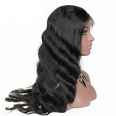 Human Hair Lace Front Wig Brazilian Hair Body Wave Natural Black Wig 130% Density with Baby Hair Natural Hairline Natural Black Women's Short Medium Length Long Human Hair Lace Wig Luxurious