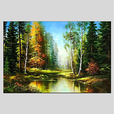 Oil Painting Hand Painted - Landscape Other Canvas