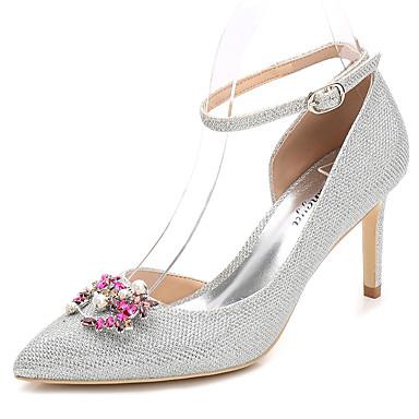 Női Cipő Glitter Tavasz Ősz Boka pántos Magasított talpú Esküvői cipők Tűsarok Erősített lábujj Kristály Glitter mert Esküvő Party és