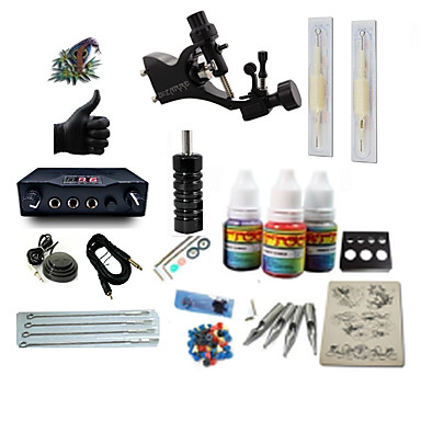 BaseKey Tattoo Machine Starter Kit - 1 pcs Tattoo Machines with 1 x 5 ml tattoo inks, Professional LCD power supply 1 rotary machine liner & shader