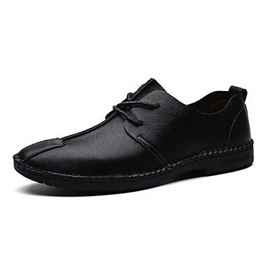 Men's Leather Spring / Fall Comfort Oxfords Black / Dark Blue / Brown