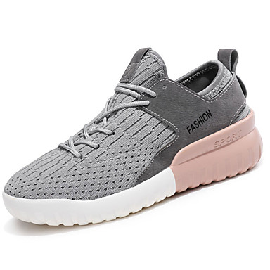 Women's Shoes Knit / Customized Materials Fall / Winter Comfort Athletic Shoes Running Shoes Low Heel Lace-up White / Black / Gray