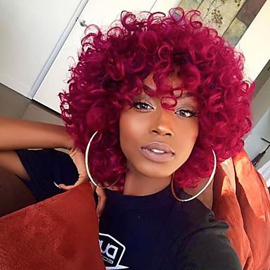 Emberi haj Csipke Paróka Brazil haj Hullámos Réteges frizura Tincselve 130% Sűrűség 100% Szűz Afro-amerikai paróka Természetes