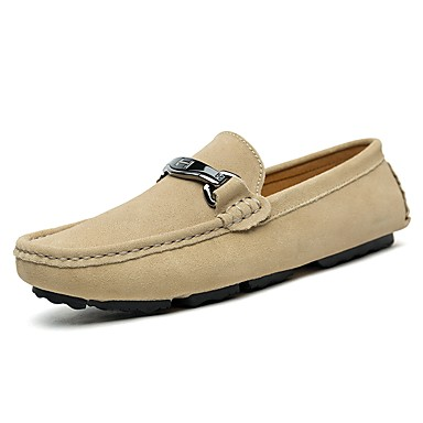 Men's Faux Leather / Cowhide Spring / Fall Comfort Loafers & Slip-Ons Black / Dark Brown / Khaki
