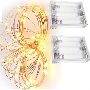 Недорогие LED ленты-2м Гирлянды 20 светодиоды SMD 0603 Тёплый белый / Белый / Красный Декоративная Аккумуляторы AA 2pcs / IP65