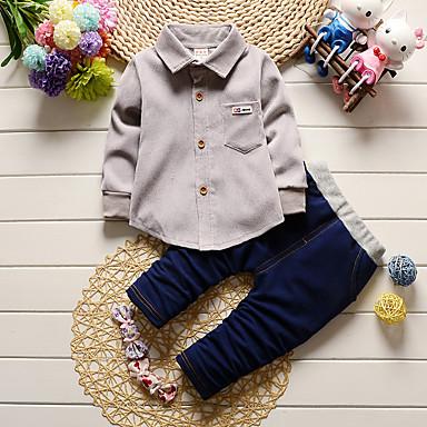 povoljno Odjeća za bebe Za dječake-Dijete Dječaci Unutrašnji / Škola / Ležerno / za svaki dan Jednobojni Dugih rukava Normalne dužine Pamuk Komplet odjeće Djetelina / Dijete koje je tek prohodalo